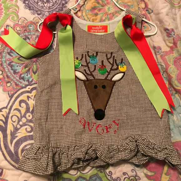 NWT mudpie Brown Checkered  Reindeer Jumper 0-6 mo